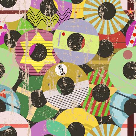 Seamless retro vnyl record labels pattern grunge vector illustration, fictional vector art Illustration
