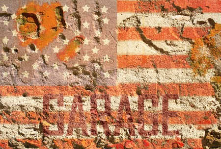 faded grungy american flag garage sign on old sandstone wall, fictional design