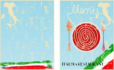 Menu template for Italian restaurant, fictional artwork, free copy space