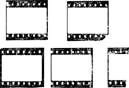 grungy movie negative, blank picture frames, free copy space, vector Illustration