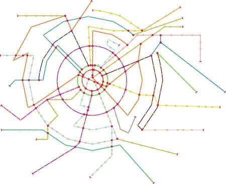 Fictional subway map, public transportation, map, free copy space Illustration