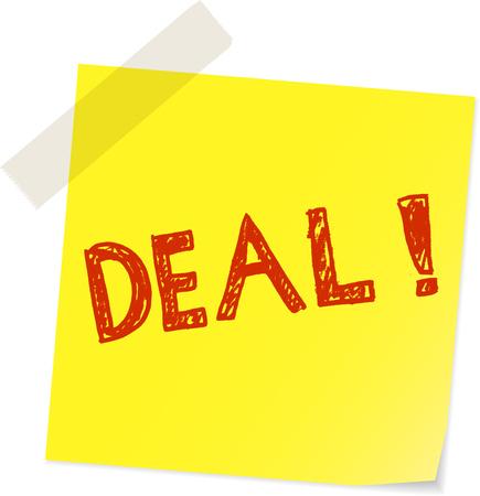 deal, special offer sale sign, handwritten on sticker vector illustration