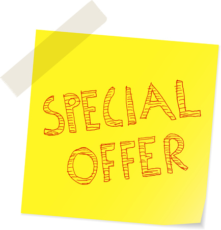 special offer sale sign, handwritten on sticker vector illustration