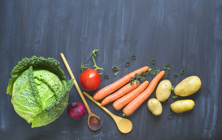 Cabbage head and vegetables, ingredients for hot pot with cabbage and vegetables, flat lay