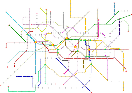 Fictional subway map, public transportation map, free copy space, isolated on white