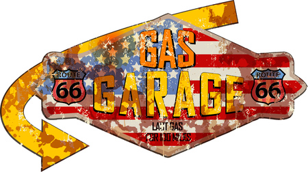 route sixty six garage and gas station sign,super grungy retro style vector