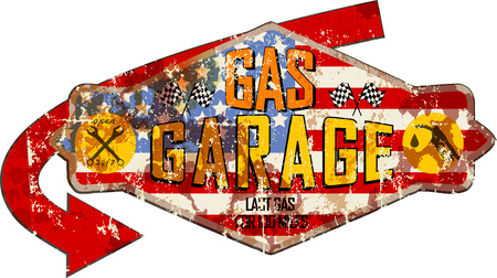 retro weathered garage and gas station sign,super grungy retro style vector