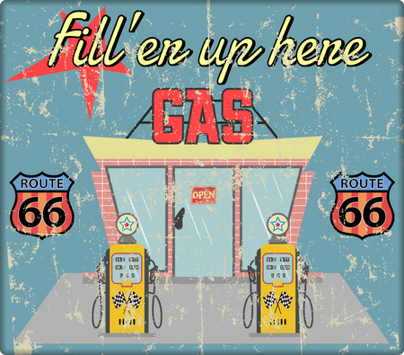 Vintage gas station sign, grungy and retro style vector