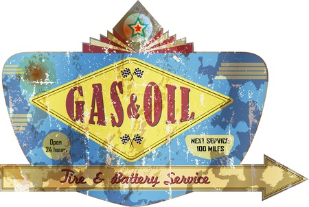 old weathered gas station and garage advertising sign,super grungy, retro style vector