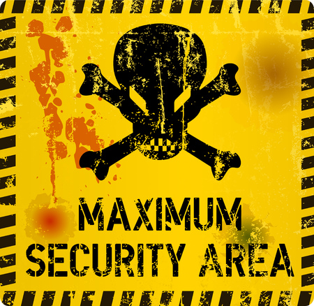 maximum security area sign grungy style, with skull, web icon vector