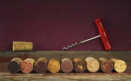 old wine corks, corkscrew, free copy space Stock Photo