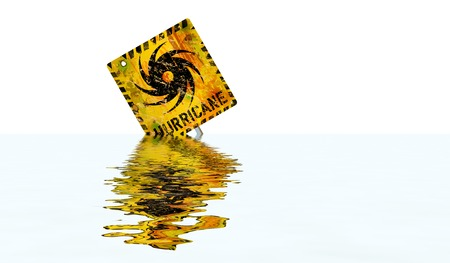 hurricane warning sign,flooded with high water, good copy space