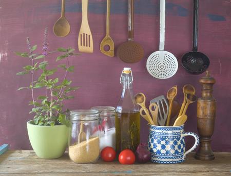 kitchen utensils, herbs, vegetables, kitchen still life,cooking concept