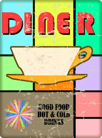 retro american diner sign, vintage bauhaus style with grungy texture, vector illustration