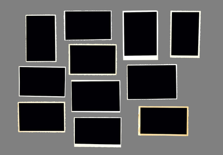 old empty photo frames, vintage photo prints isolated on neutral grey (50%) for better selection, with free space for pictures