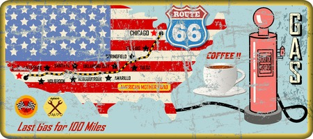 grungy route 66 gas station sign and road map,retro grungy vector illustration