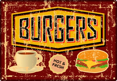 grunge retro Burger, Hamburger, diner tin sign, vintage advertising signage vector