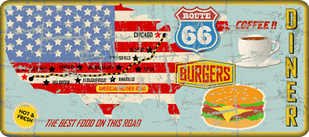 grungy route sixty six diner sign and road map, retro grungy vector illustration
