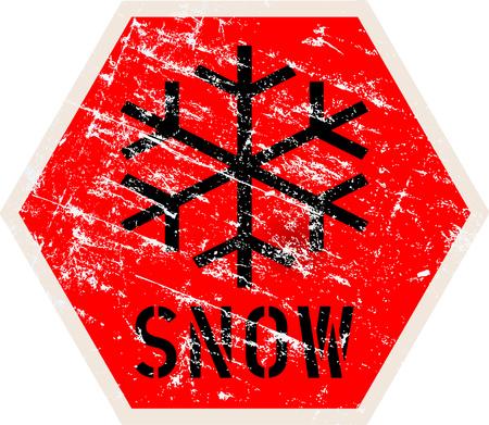 snow warning sign, vector illustration, fictional artwork