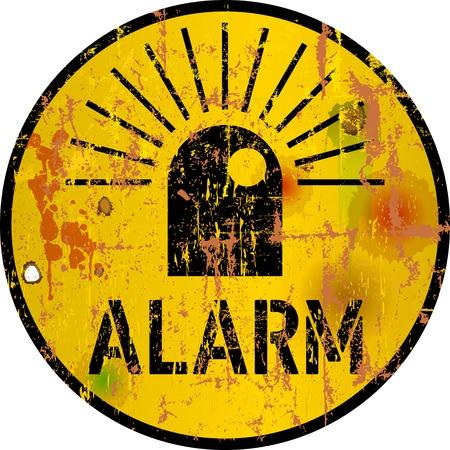 alarm, alert, danger sign, warning sign, grunge style vector illustration