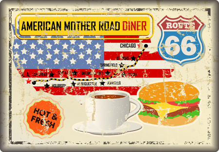 grungy route 66 diner sign and road map, retro grungy vector illustration
