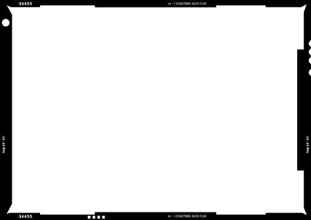 Négatif de film vide grand format vierge ou cadre photo, espace de copie gratuit, isolé sur blanc Vecteurs