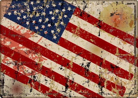 old battered grungy USA flag metal sign, vector illustration