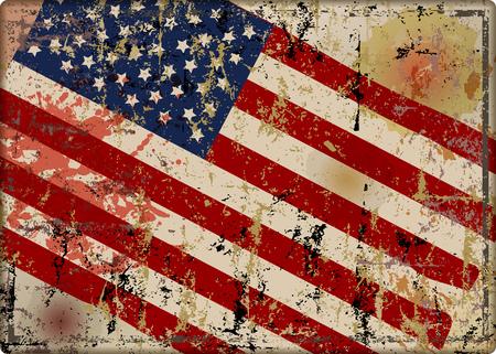 old battered grungy USA flag metal sign, vector illustration
