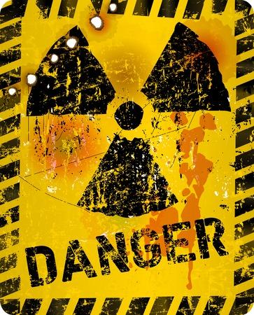 Distressed grunge atomic radiation warning sign, symbol, vector illustration Illustration