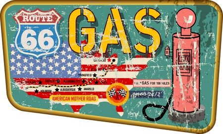 grungy old route sixty six metal gas station sign wiith road map,retro grungy vector illustration Illustration