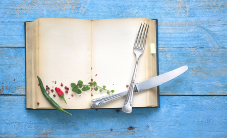 Vintage recipe or cookbook with empty pages, spices and old silver cutlery, menu template,free copy space Stock Photo