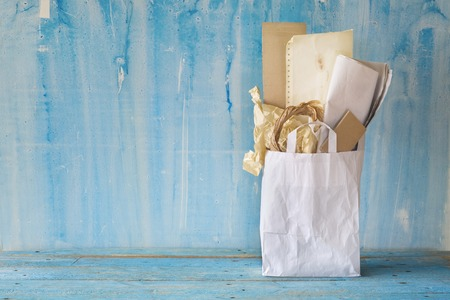 Recycling material, paper and cardboard, free copy space. Environment protection. Stock Photo