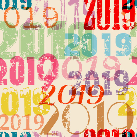grungy seamless new year 2019 background pattern, vector illustration