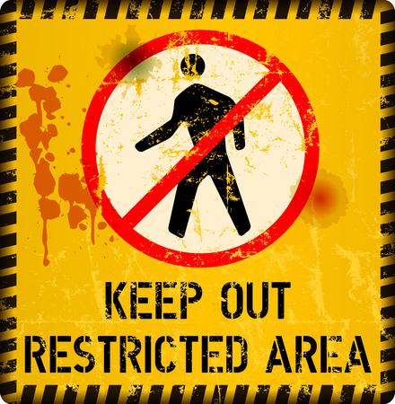 restricted area sign, keep out sign, grunge metal sign, vector illustration Vektorové ilustrace