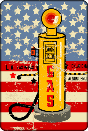 grungy old metal gas station sign with gas pump,retro style vector illustration