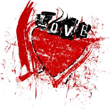 love hits like lightning, grunge style vector illustartion