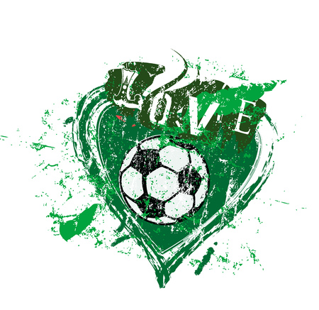 love to soccer, symbol with heart and soccer ball, grunge style vector illustration