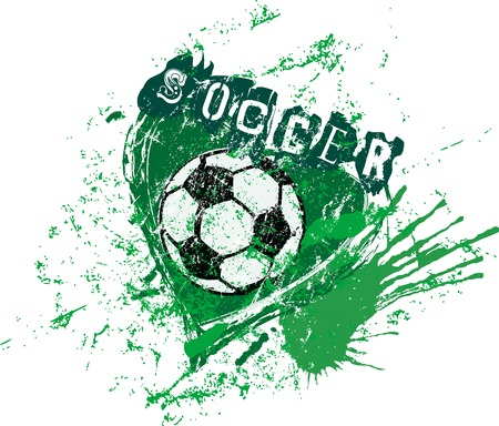 love for soccer, symbol with heart and soccer ball, grunge style vector illustartion