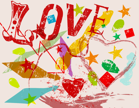 love symbol grunge style vector illustartion Ilustração