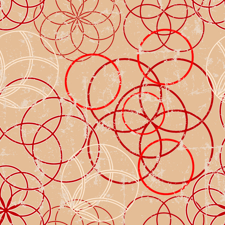 Seamless circle ornaments pattern, seamless background w. grunge texture,vector illustration