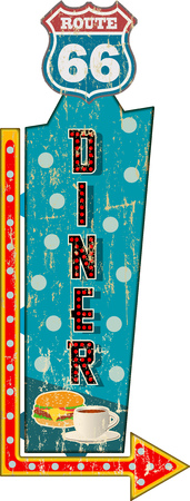 grungy route sixty six diner sign , retro grungy vector illustration Illustration