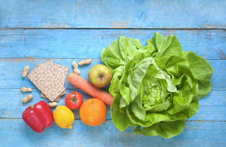 Vegetables and fruit, healthy food, healthy lifestyle, dieting concept, flat lay, copy space Stock Photo