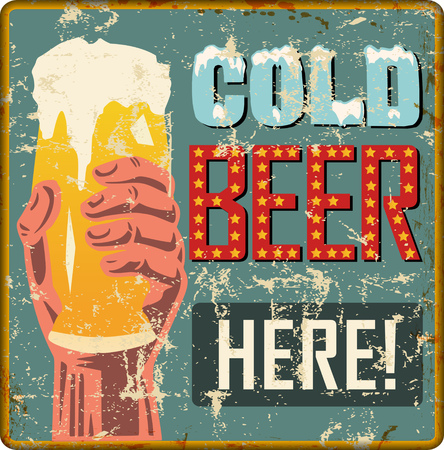 vintage rusty beer advertisign sign or pub  bar sign, vector illustration, fictional artwork