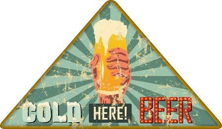 vintage rusty beer advertisign sign or pub / bar sign, vector illustration, fictional artwork