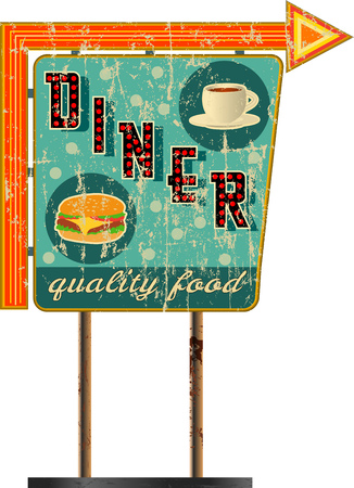 grungy route sixty six diner sign , retro grungy vector illustration Ilustrace