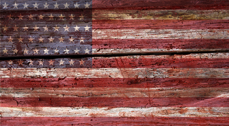 weathered grunge USA flag on an old wooden wall background