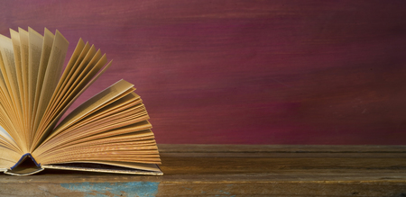 opened book, panorama, reading education,literature, good copy space Stock Photo
