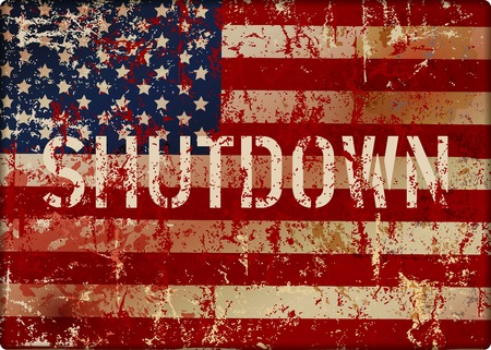 shutdown symbol with grungy USA flag, metal sign, vector illustration Çizim