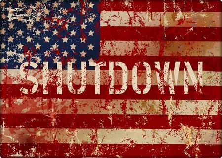 shutdown symbol with grungy USA flag, metal sign, vector illustration Illustration
