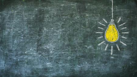 Idea, innovation, solutuion concept on black board, design template, large copy space